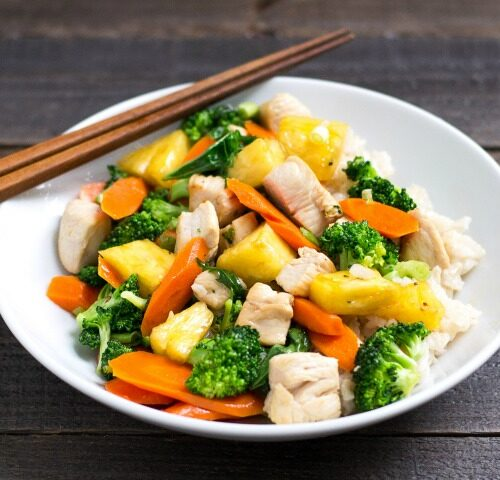This chicken pineapple stir fry is a healthy dinner recipe that will help your family to eat their greens. You can prep the ingredients ahead of time, too.