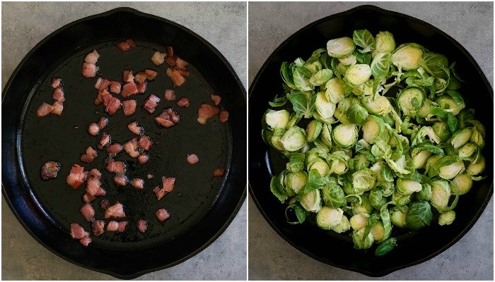 The process is so easy behind these Brussels sprouts with bacon.