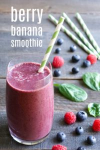 These berry banana smoothies are a delicious, healthy drink full of nutrients. The sweet flavors make this the perfect vegan snack recipe.