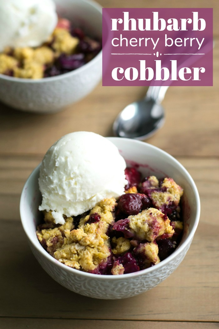 This cherry rhubarb cobbler recipe is a delicious mix of flavors to celebrate the spring and summer growing seasons.