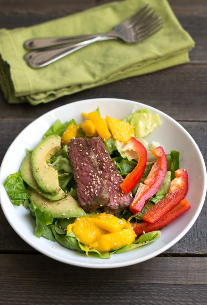 This mango avocado steak salad is one of my favorite healthy dinner recipes. I always request it on special occasions when I'm not cooking!