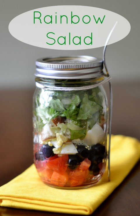 I love this rainbow salad in a mason jar! This is a great healthy recipe to take on the go. Even my kids love it!