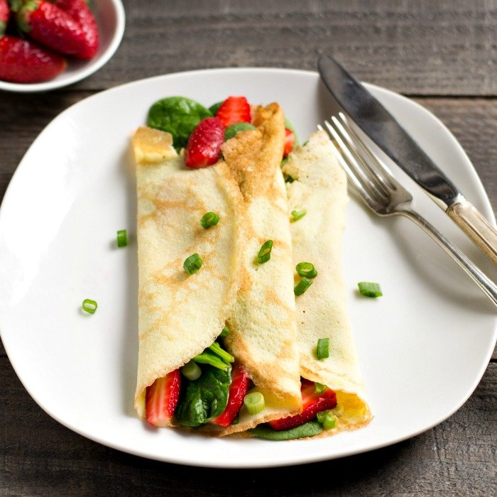 These strawberry spinach crepes are a delicious breakfast recipe full of healthy ingredients. The gluten-free crepes are easy to put together.