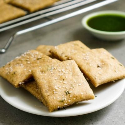 These easy pesto sourdough crackers are a healthy, delicious snack. Try this recipe when you have extra sourdough starter that needs a home.