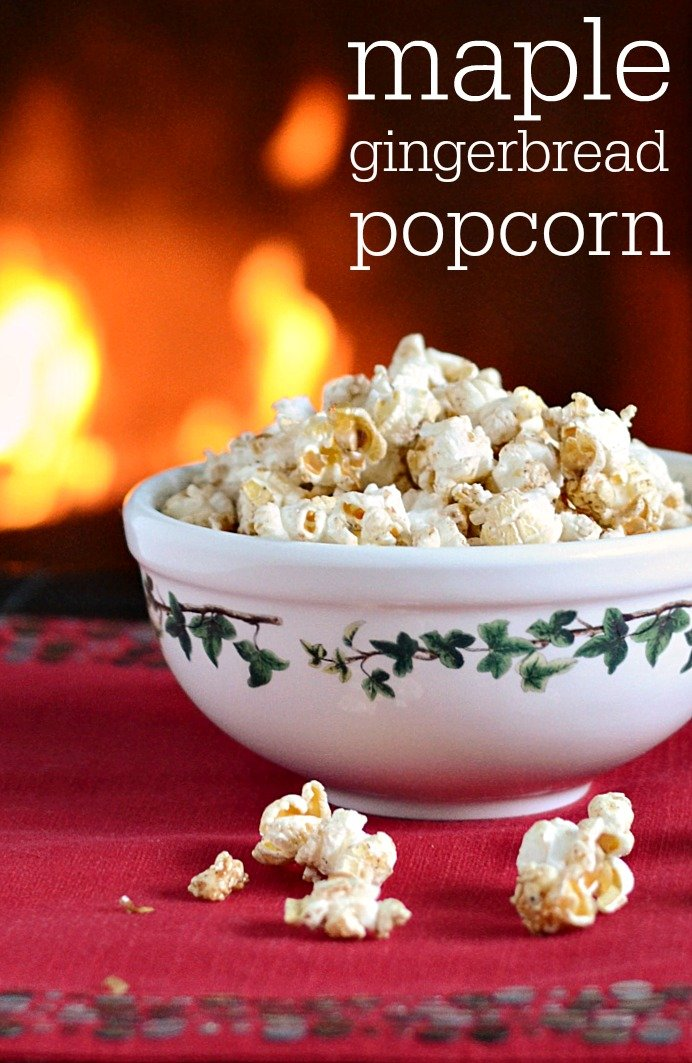 This Maple Gingerbread Popcorn recipe is an addictive, healthy Christmas snack! It also makes a great holiday gift. Recipe from Real Food Real Deals.