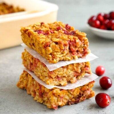 Pumpkin cranberry oat bars