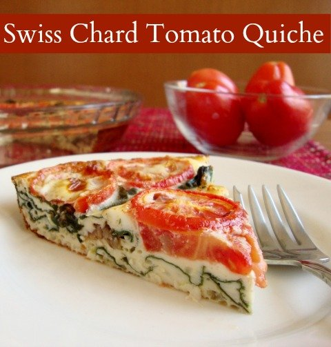 This Swiss Chard Tomato Quiche is a delicious vegetarian, gluten-free main dish that works well for a healthy breakfast, lunch, or dinner.