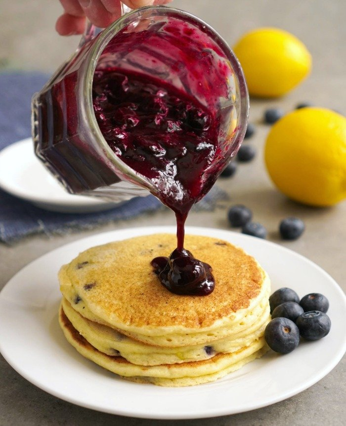 Blueberry sauce is the perfect topping for these lemon ricotta blueberry pancakes.