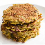 Root vegetable cakes on a plate