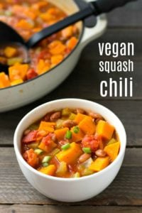 This vegan butternut squash chili is one of the best cozy dinner recipes for fall and winter. Get some extra veggies into your menu with this healthy vegan chili.