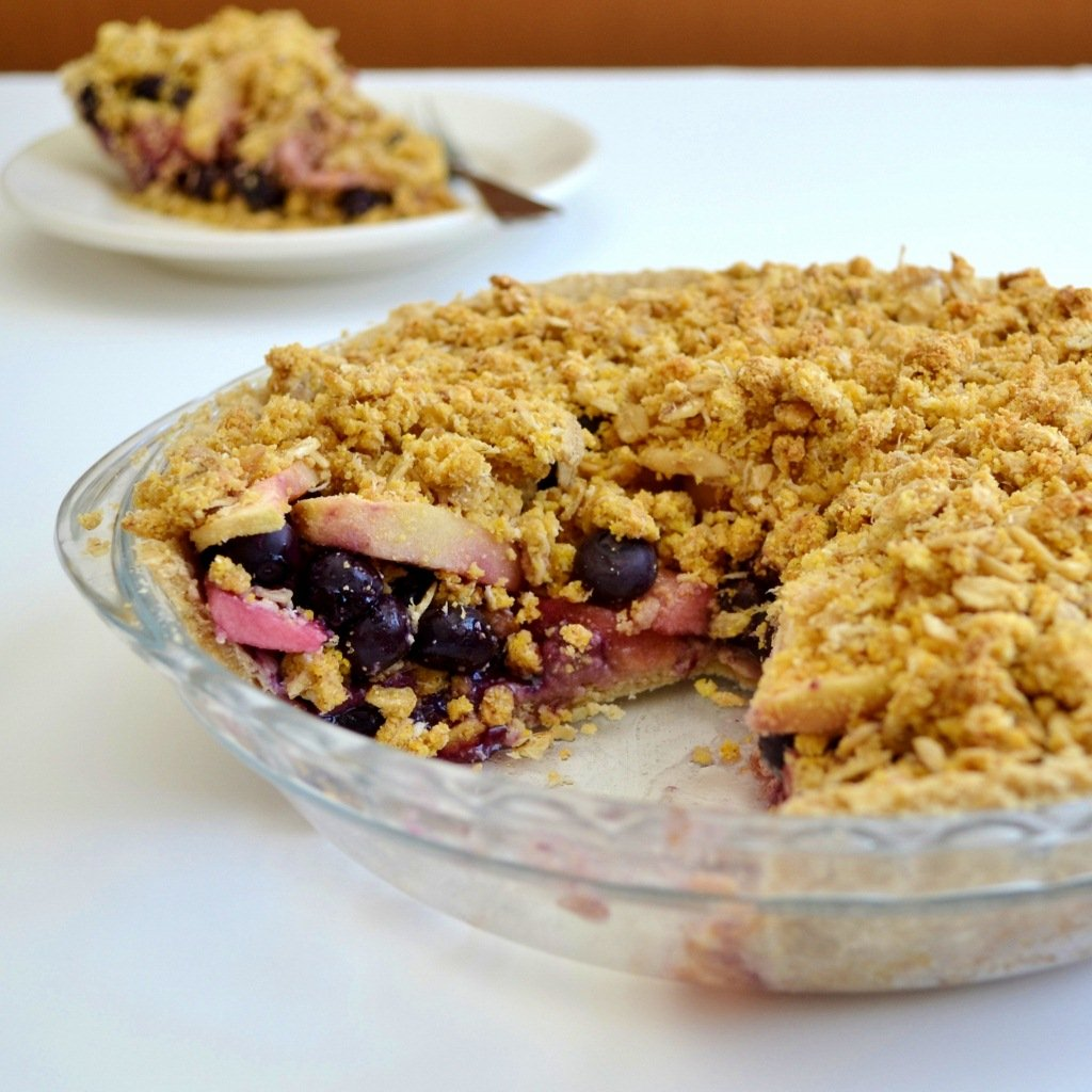 This gluten-free blueberry apple crumb pie is a healthy version of a favorite dessert. It's a delicious dessert recipe without the guilt.