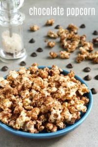 This chocolate popcorn recipe is a delicious, healthy treat that will satisfy your chocolate craving. It's great for a homemade food gift!
