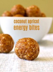 These coconut apricot energy bites are a delicious, healthy snack to grab when you're on the go. They taste like dessert, but they're secretly healthy. #apricot #energyballs