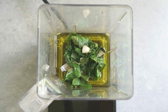 Homemade basil oil is so easy to make in the blender.