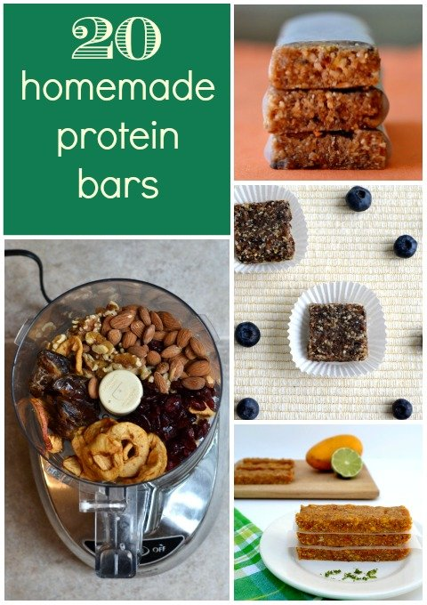 Why buy expensive protein bars when you can make them yourself? These 20 homemade protein bar recipes are delicious, energy-boosting snacks. Round-up from Real Food Real Deals.