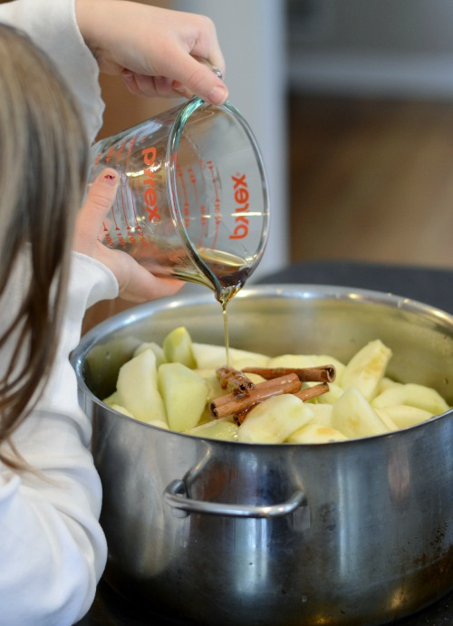 Add maple syrup and cinnamon sticks.
