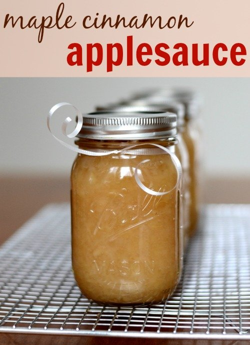 This maple cinnamon applesauce is so, so good! If you don't eat it all right out of the pot, you can give some away as a homemade Christmas gift.