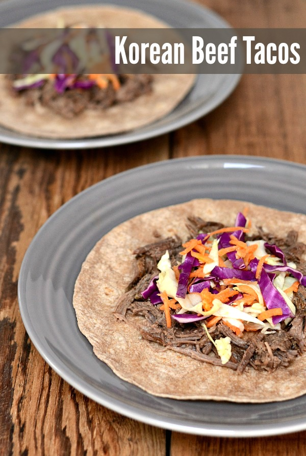 These Korean Beef Tacos are the perfect Crockpot meal! Just like the food trucks, only better. Recipe from Real Food Real Deals