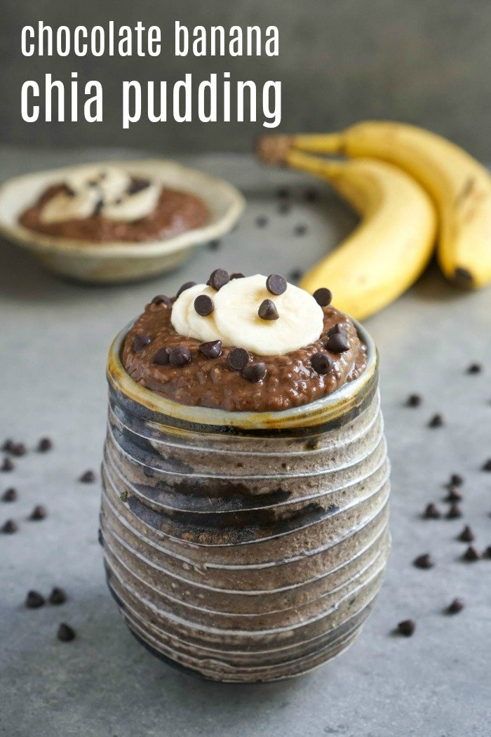 This chocolate banana chia pudding is the perfect healthy snack or breakfast! It tastes like dessert even though it's good for you. Gluten-free, vegan recipe from Real Food Real Deals.