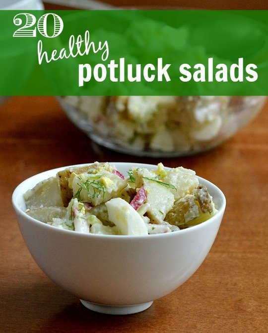 These 20 healthy potluck salads make a great addition to the buffet spread at a cookout or party. These recipes will help to balance the treats you'll eat.