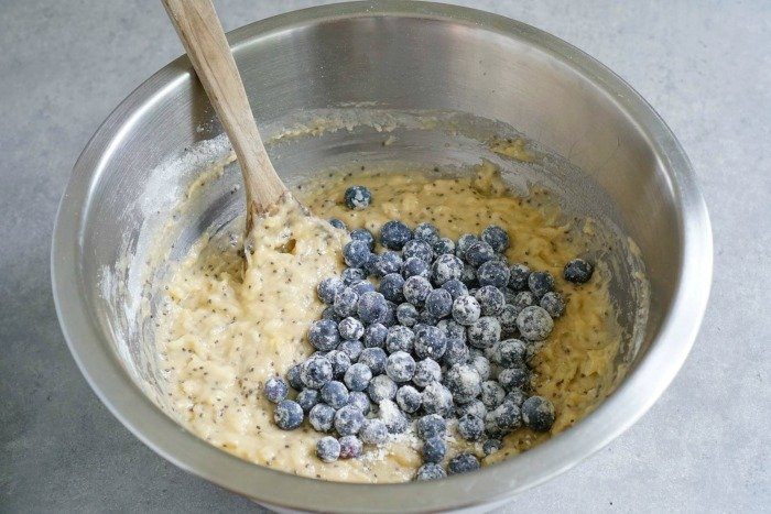 Coat blueberries with flour before adding them to muffin batter.
