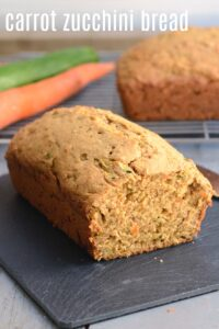 This healthy carrot zucchini bread recipe is such a delicious snack full of veggies and flavor. Bananas give it extra sweetness.
