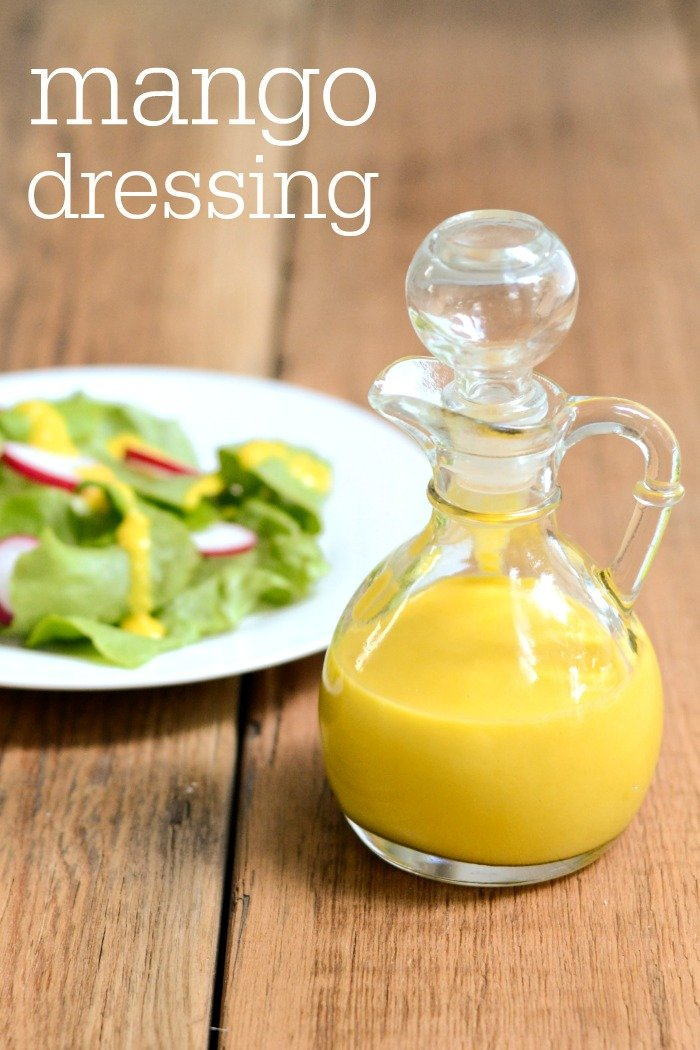 This mango salad dressing recipe is a delicious topping for greens, chicken, or fish. It's a sweet dressing that keeps in the fridge for several days.