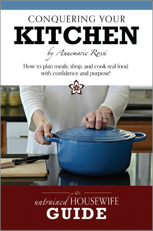 Conquering Your Kitchen is a book that will teach you how to plan meals, shop, and cook real food with confidence and purpose. Anyone can do it!