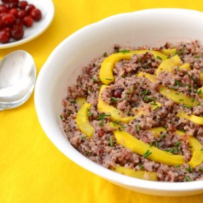 This cranberry squash quinoa salad is a delicious Thanksgiving side dish.