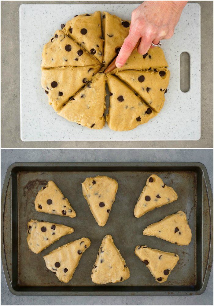 Peanut butter chocolate chip scones are simple to make.