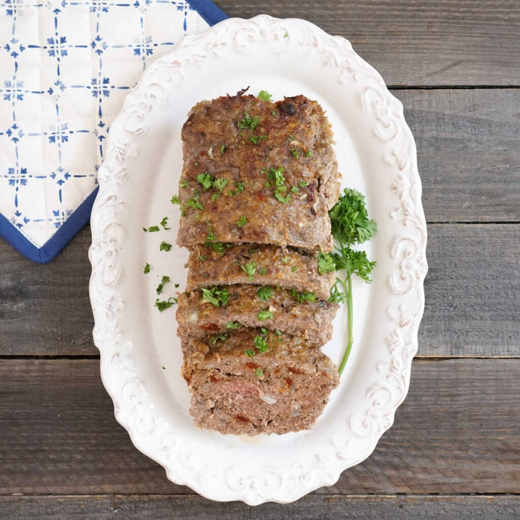 Gluten free meatloaf on platter