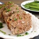 Gluten free meatloaf on a platter