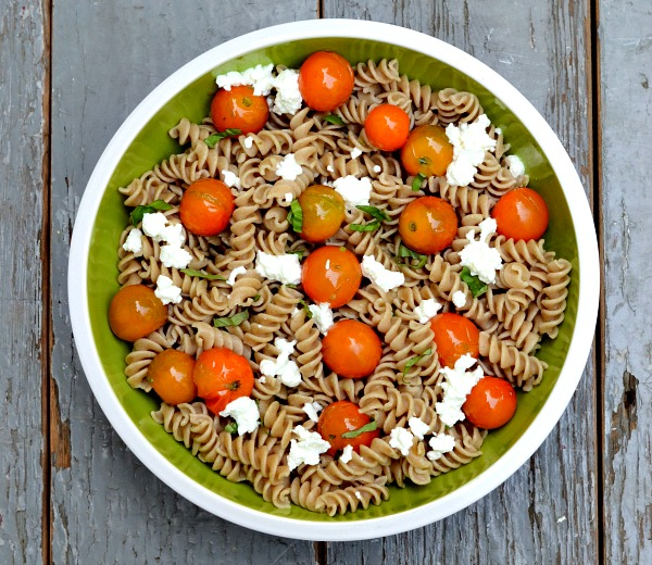 Cherry tomato ricotta pasta with homemade ricotta and cherry tomatoes from the farm