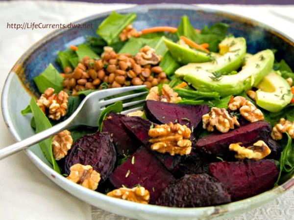 Farmers' market salad, full of fresh seasonal ingredients