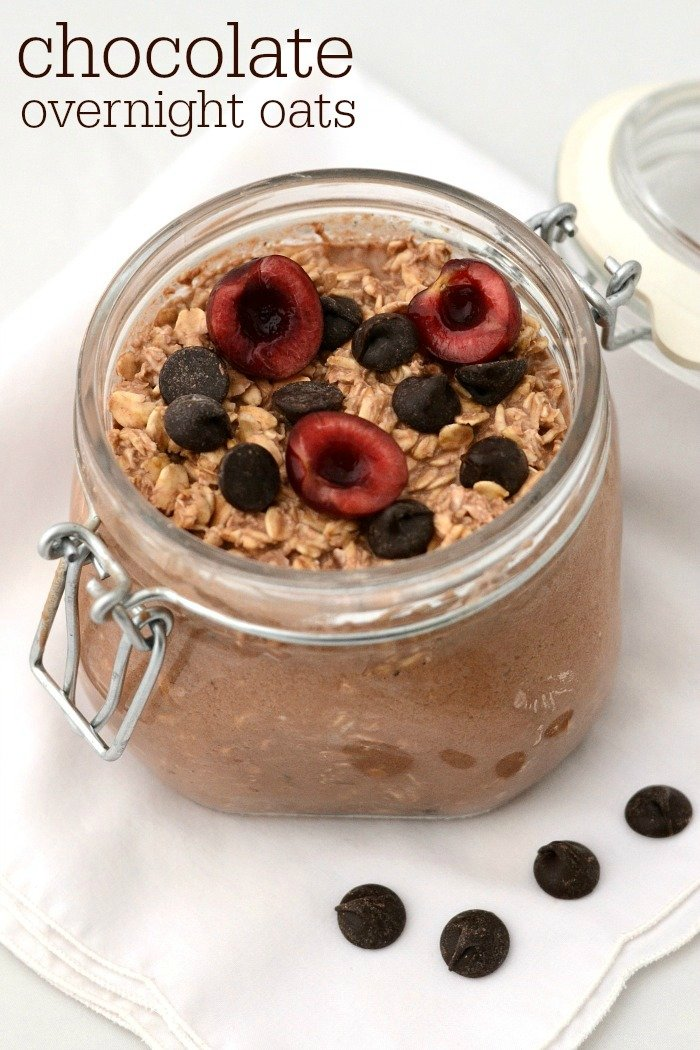 Chocolate overnight oats with cherries and chocolate chips