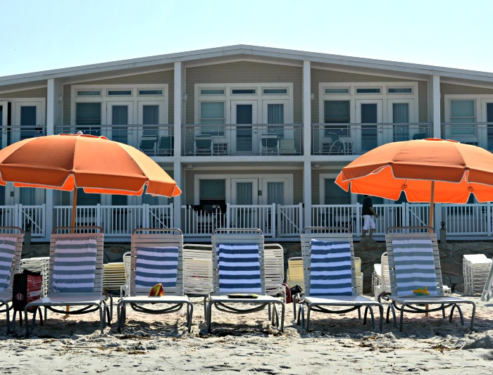 A stay at the Sea Crest Beach Hotel in Falmouth, MA includes beach chairs, umbrellas, and towels. No need to pack a mountain of beach equipment in your car!