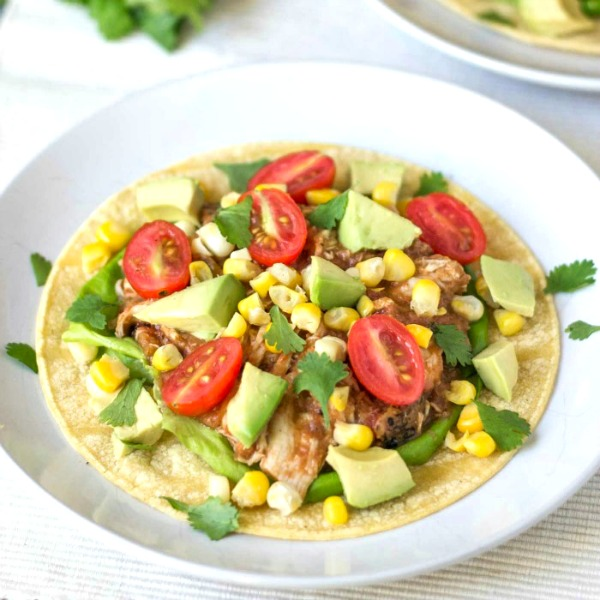 Crockpot chicken tacos are a healthy, frugal meal.