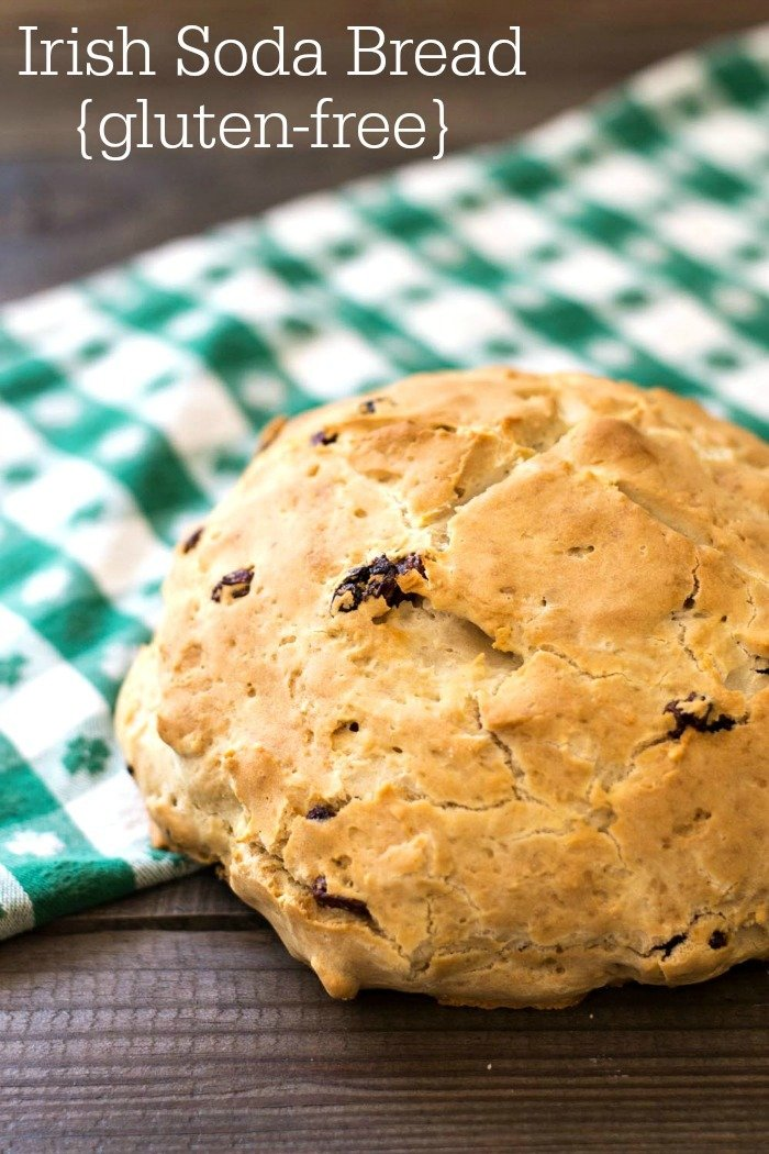 This gluten free Irish soda bread is a healthy snack or breakfast for St. Patrick's Day. Nobody will miss the wheat in this delicious bread!