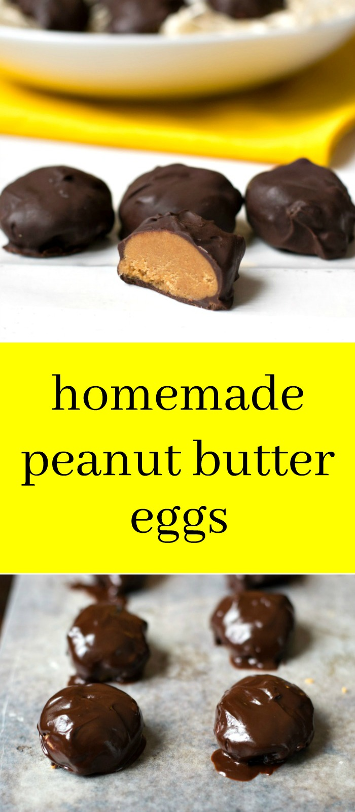 These homemade peanut butter eggs are such a delicious treat for Easter! This healthy recipe is a great alternative to the packaged version. You won't be able to stop eating them! Recipe from realfoodrealdeals.com