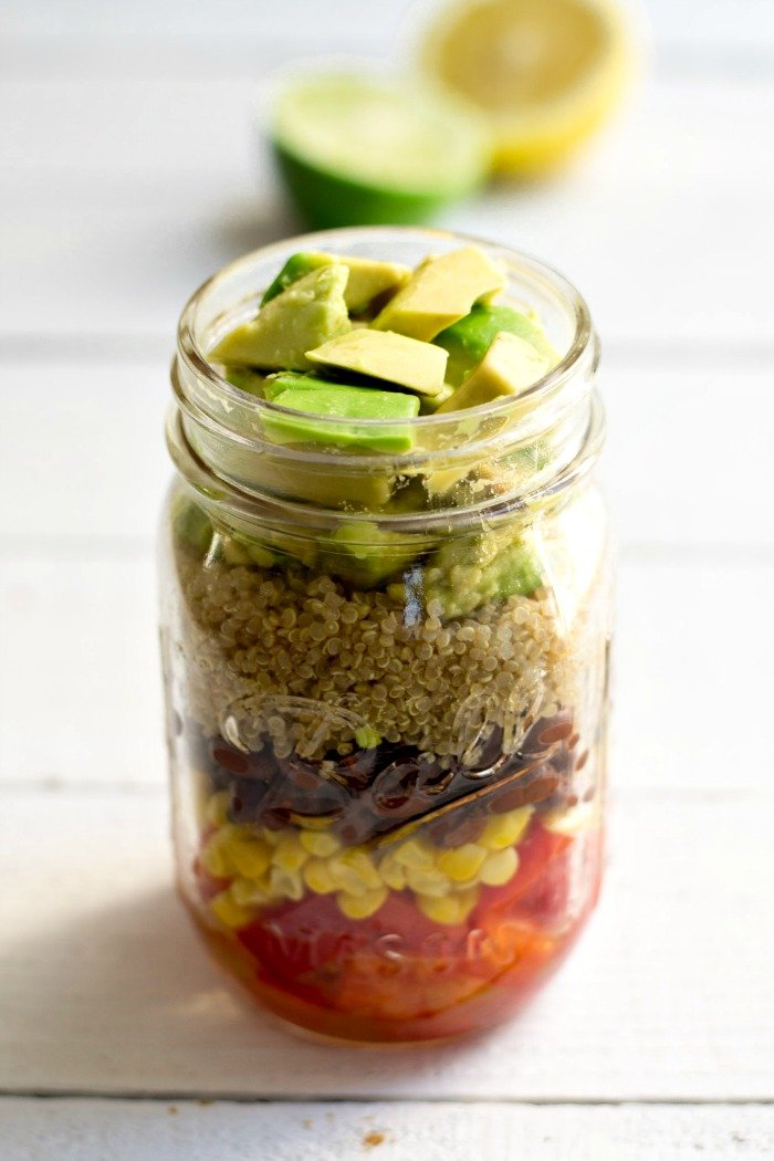 Gluten-free, Vegan Southwestern Avocado Quinoa Salad. This is the best recipe to get you out of your lunch rut! Step away from the pb&j, and give this delicious salad a try.