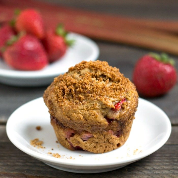 Strawberry rhubarb muffin recipe - gluten free, dairy free, refined sugar free, and so delicious!