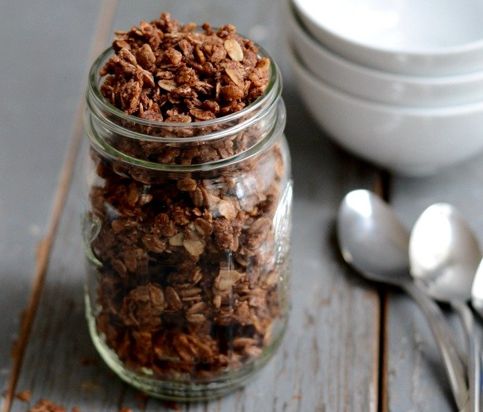 Chocolate granola is a great healthy travel snack!