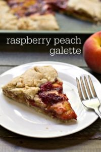 This raspberry peach galette is a seasonal, rustic pie that's perfect for the novice baker. This healthy dessert recipe is a great way to enjoy fresh summer fruit!