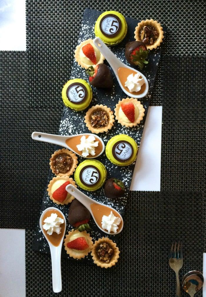 Show-stopping desserts at FIVE Restaurant, Hotel Shattuck Plaza, Berkeley CA