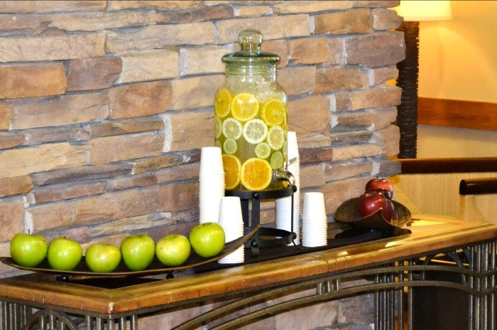 Special touches like this citrus water in the lobby at the Lodge at Tiburon make it a wonderful hotel.