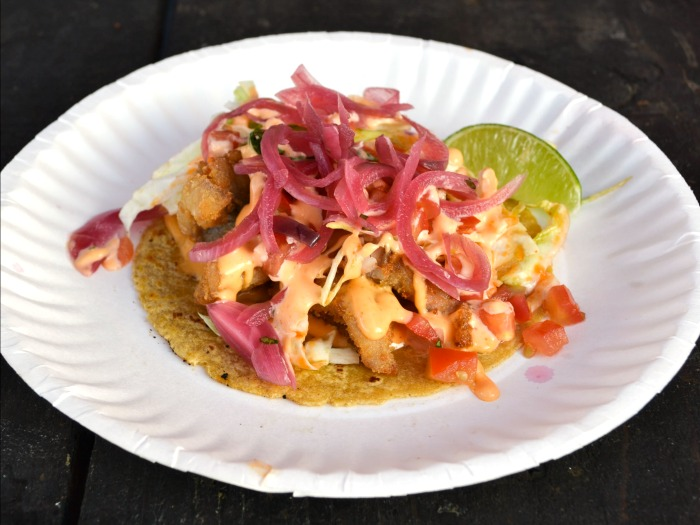 Fish tacos from Off the Grid food truck festival in San Francisco