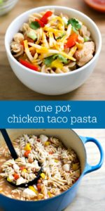 This one pot chicken taco pasta is a delicious, healthy dinner recipe that couldn't be easier to make! Everything cooks in one pot for a quick dinner on a busy night.