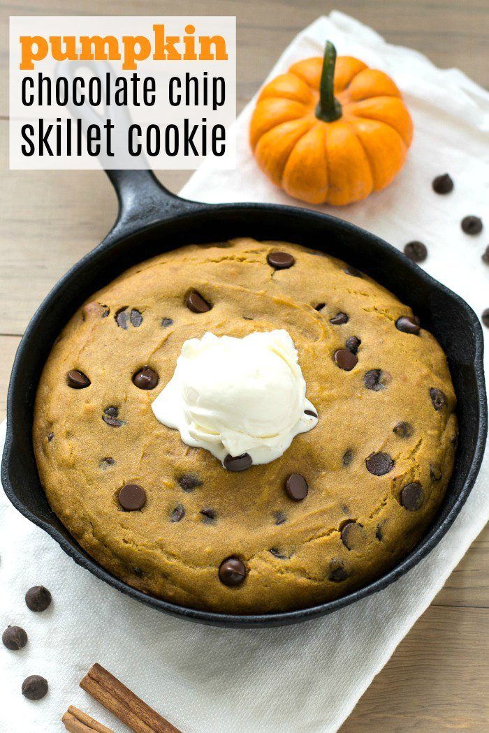 This pumpkin chocolate chip skillet cookie is an easy, delicious way to enjoy the flavors of fall! It's a healthy dessert recipe for the whole family.