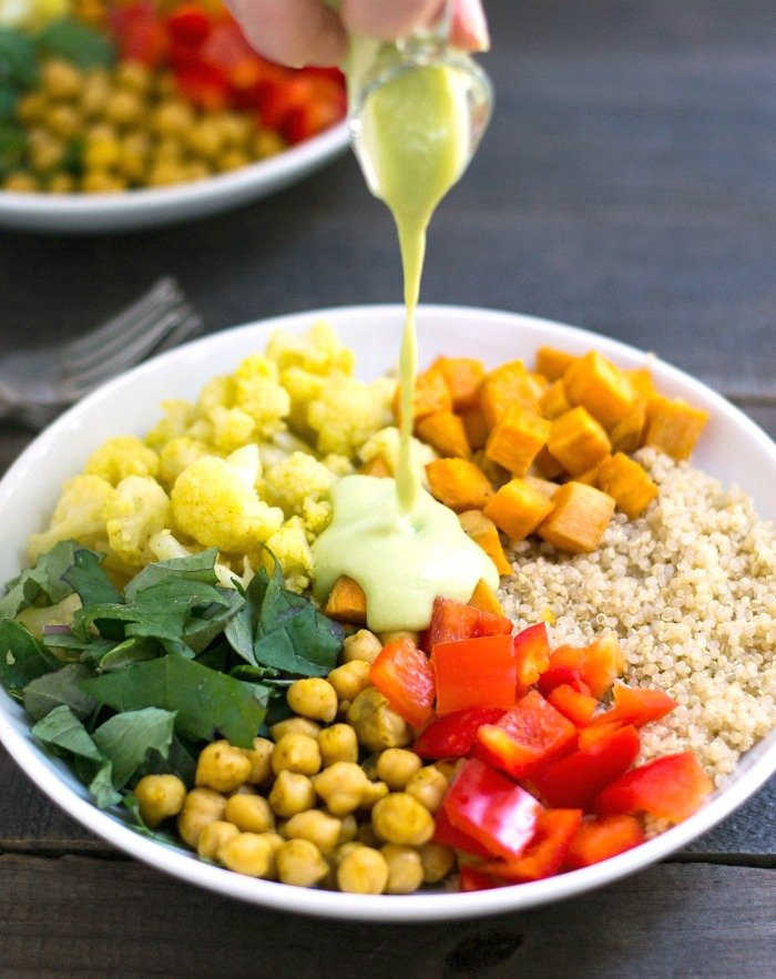 This vegetarian power bowl features loads of nutritious ingredients to help energize you. It's a great healthy recipe that you can feel good about eating. (gluten-free, vegan) Recipe from realfoodrealdeals.com