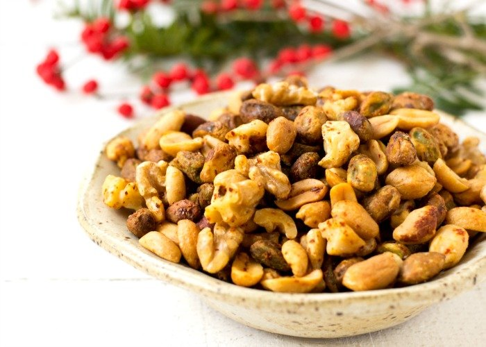 This roasted chili lime nut mix is a delicious homemade food gift for the holidays. Such a great appetizer, too!